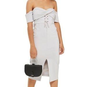 TOPSHOP Twist Lace-Up Off the Shoulder Dress NWT
